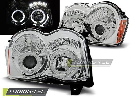 Přední světla angel eyes s LED Chrysler Jeep Grand Cherokee chrom