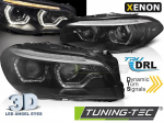 Přední LED dynamická světla angel eyes s denními světly BMW F10/F11 černá