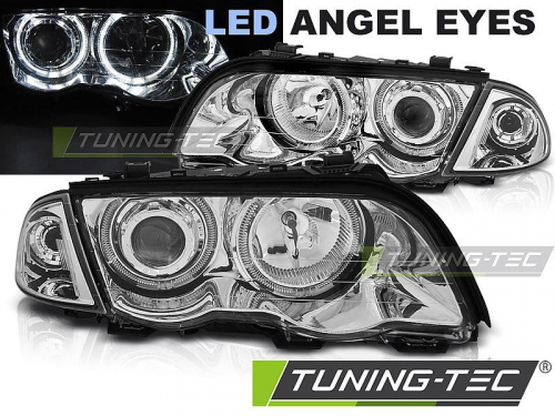 Přední světla LED Angel eyes BMW E46 sedan/touring chrom