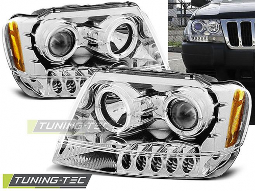 Přední světla angel eyes CCLF a LED Chrysler Jeep Grand Cherokee chrom